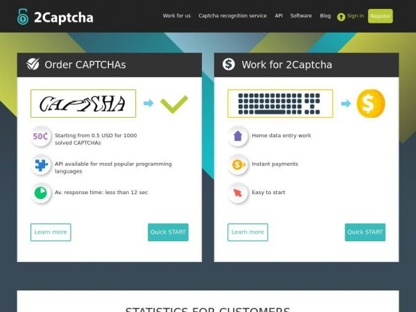 Online CAPTCHA Solving and Image Recognition Service.