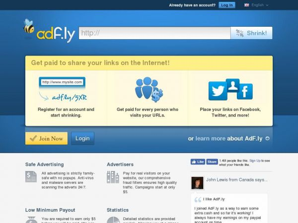 adf.ly - AdFly - The URL shortener service that pays you! Earn money for every visitor to your links.
