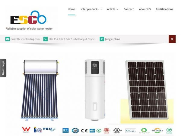 Solar Water Heaters - Solar Energy | ESCOO