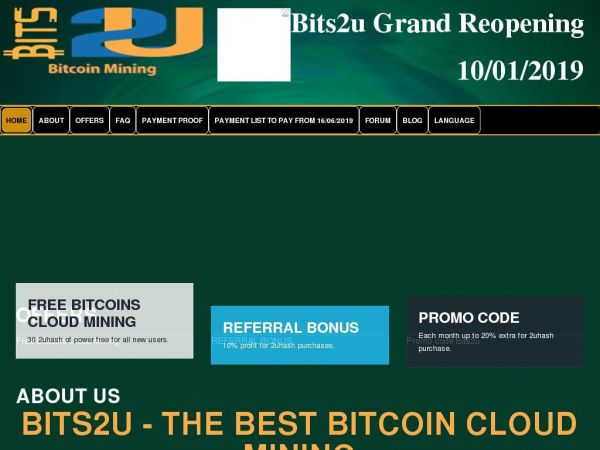 Bits2u | Bitcoin Cloud Mining