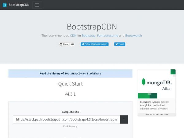 Quick Start · BootstrapCDN by StackPath