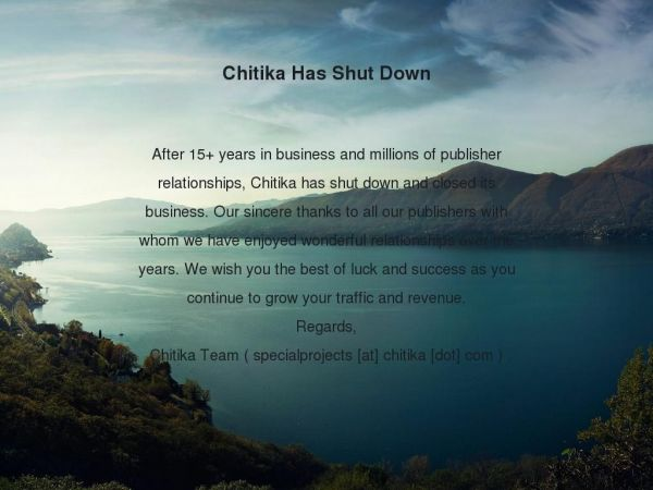 Chitika Has Shut Down