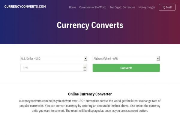 Currency Converts - Free Online Money Converter