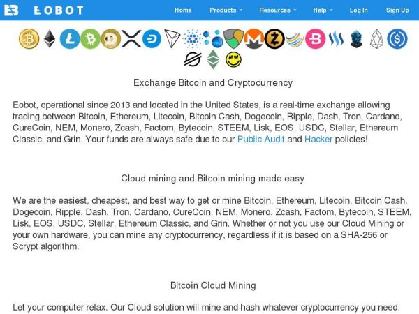 Bitcoin Exchange and Bitcoin Mining for any cryptocurrency - Eobot