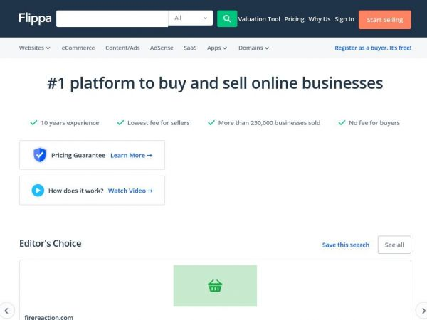 Flippa - #1 platform to buy and sell online businesses