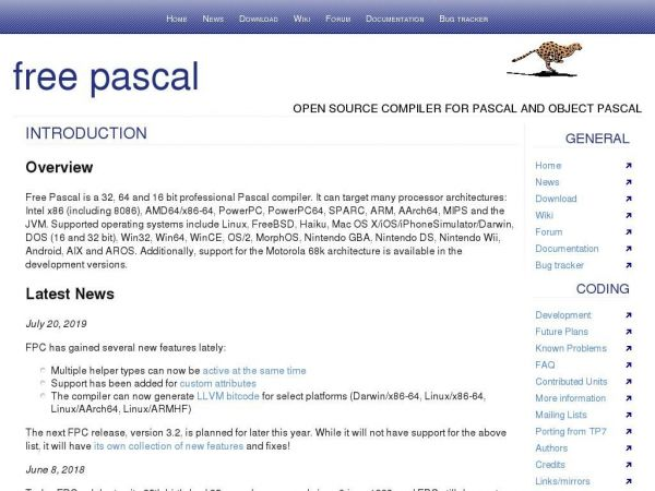 Free Pascal - Advanced open source Pascal compiler for Pascal and Object Pascal - Home Page