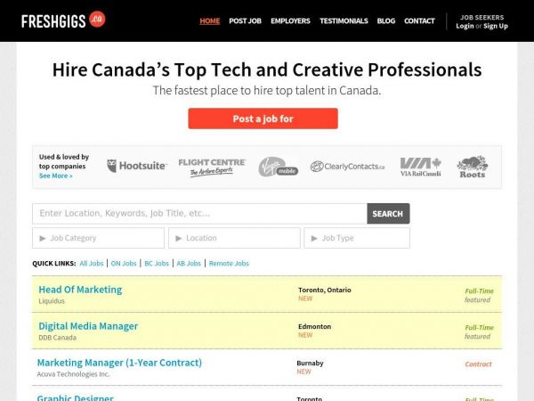 Marketing and Design Jobs in Canada | FreshGigs.ca