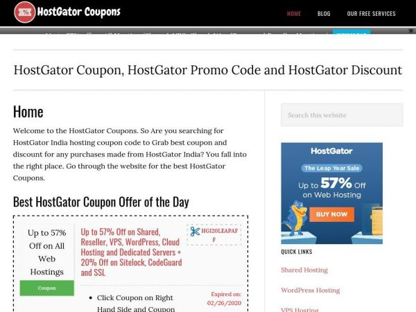 Home - Hostgator India Coupon Code : Working Coupons January 2020
