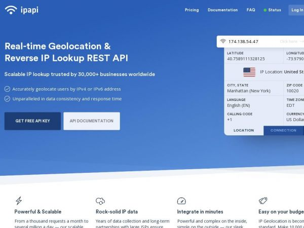 ipapi - IP Address Lookup and Geolocation API