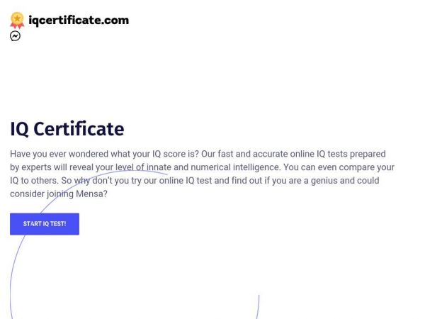 IQ Certificate - IQ test with a Certification