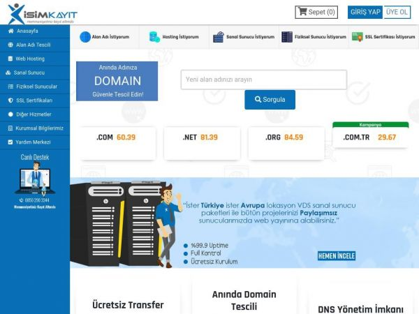İsim Kayıt Web Hosting Domain VDS Dedicated Server | isimkayit.com