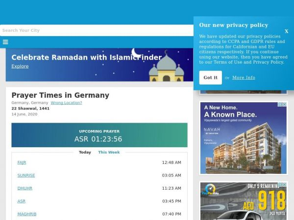 Most Accurate Prayer Times, Quran, Athan and Qibla Direction | IslamicFinder