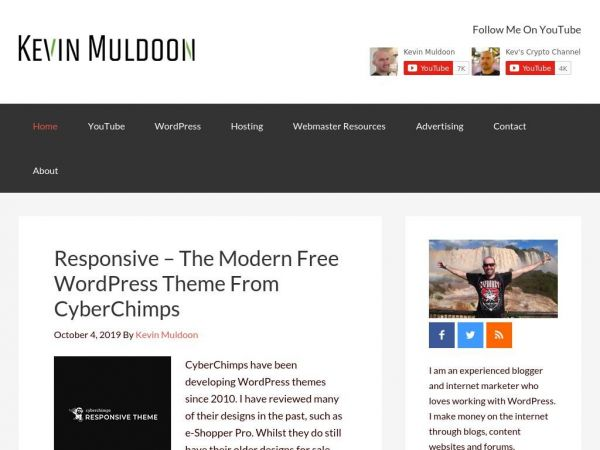 Kevin Muldoon - Blogger, YouTuber, Internet Marketer, WordPress Junkie