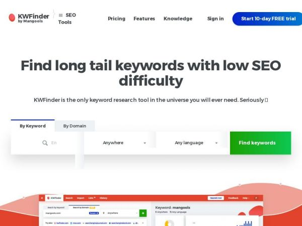 KWFinder: Keyword Research and Analysis Tool