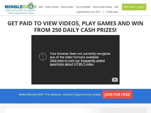Mingle Cash pays users cash to play games and view ads from their computer and phone and win from 250 daily cash prizes.