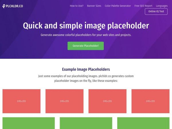 plchldr.co Quick and simple image placeholders | plchldr.co