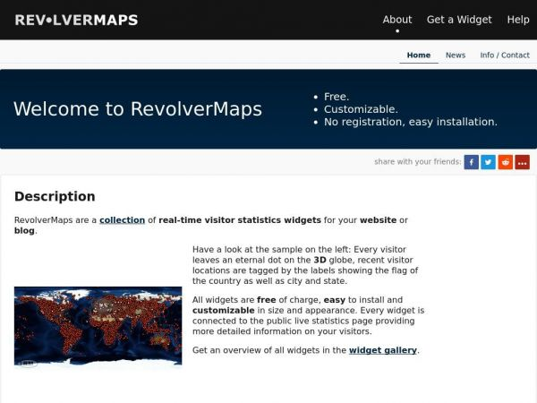 Welcome to RevolverMaps  | RevolverMaps - Free 3D Visitor Maps