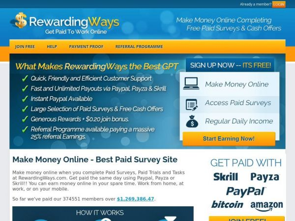 Rewarding Ways - Make Money Online - Free Paid Surveys - Fast Payments - The Best GPT Site