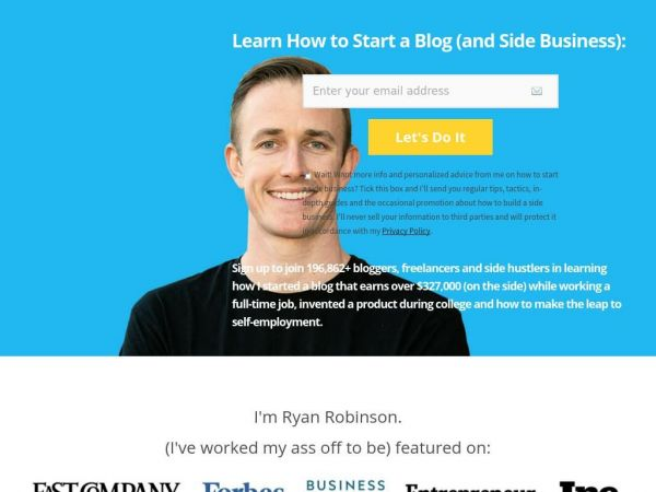 The Blog of Ryan Robinson: Authentic Blogging Advice and Tutorials — RyRob.com: A Blog by Ryan Robinson | Learn How to Blog and Make Money on the Internet