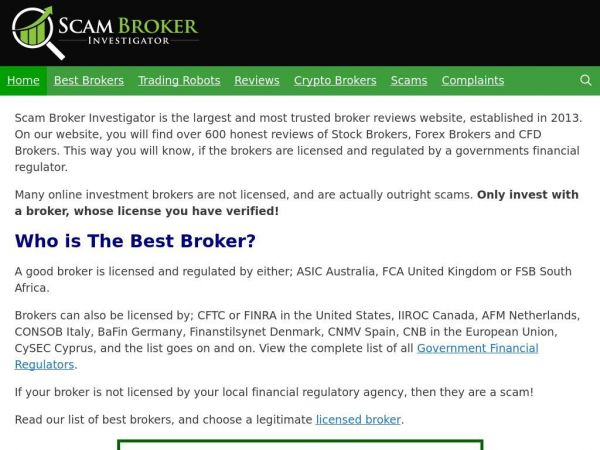 Scam Broker Investigator - Binary Options Broker Reviews