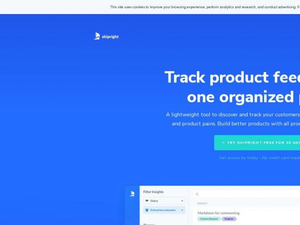 Shipright – Track product feedback in one organized place