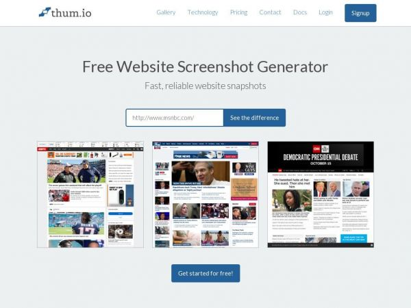 Thum.io | Fast real-time website screenshot API
