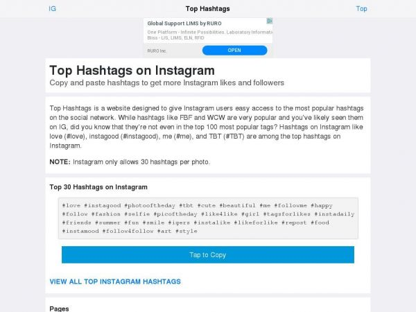 Top Hashtags on Instagram: Copy and Paste Top Tags