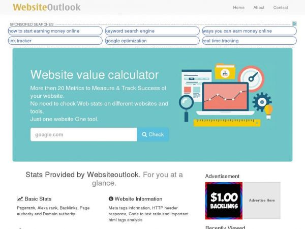 Website value calculator and web information