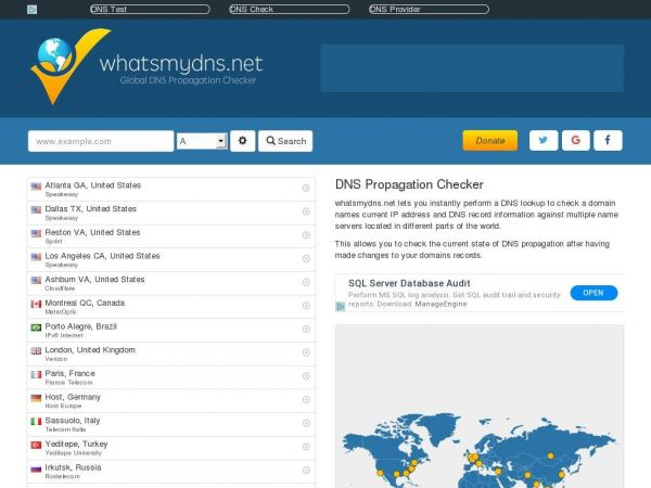 Global DNS Propagation Checker - What's My DNS?