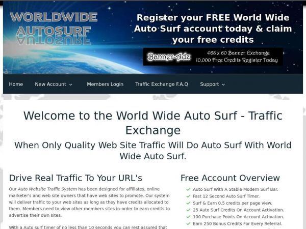 Auto Surf Traffic Exchange - World Wide Auto Surf