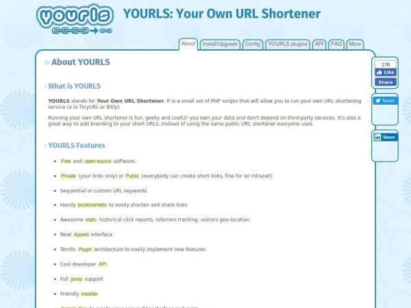 YOURLS: Your Own URL Shortener